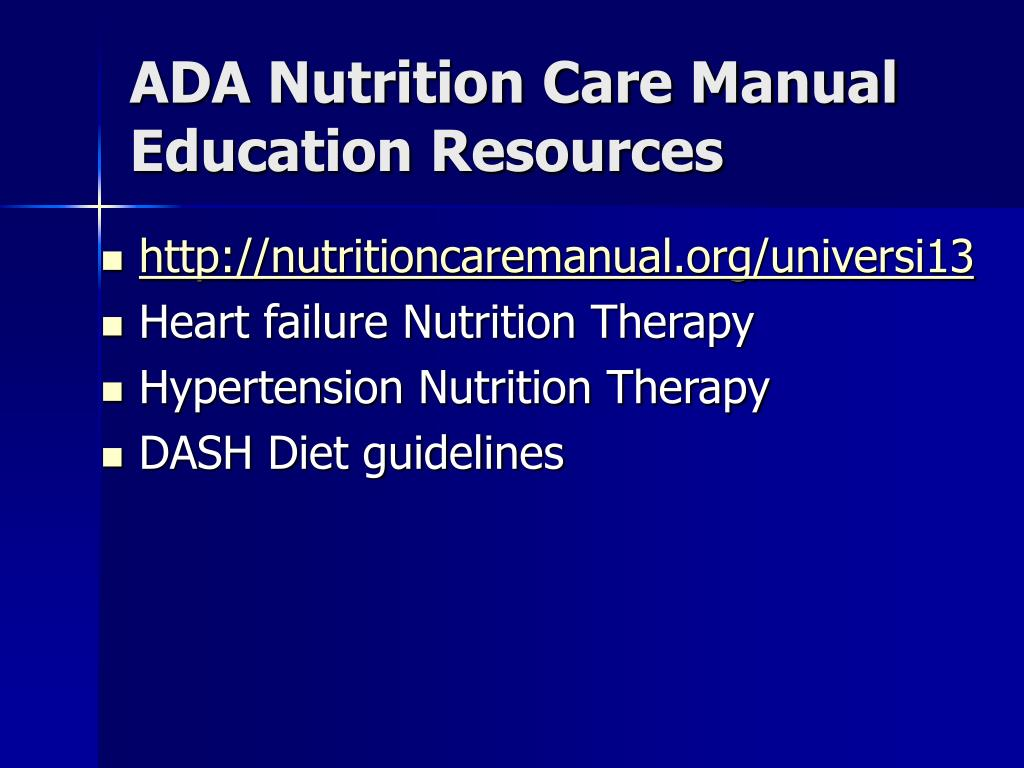 ADA Nutrition Care Manual Education Resources