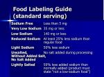 food labeling guide standard serving