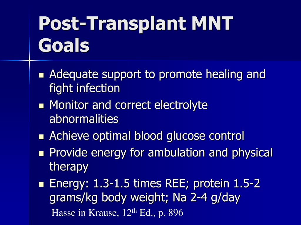 Post-Transplant MNT Goals