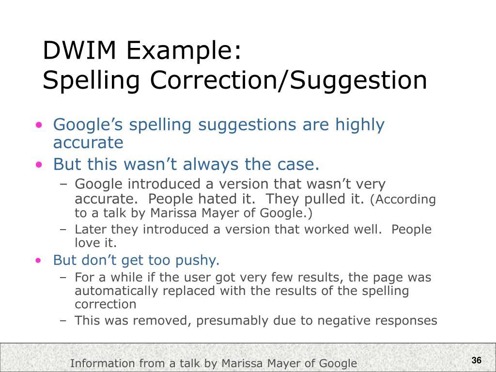 DWIM Example: