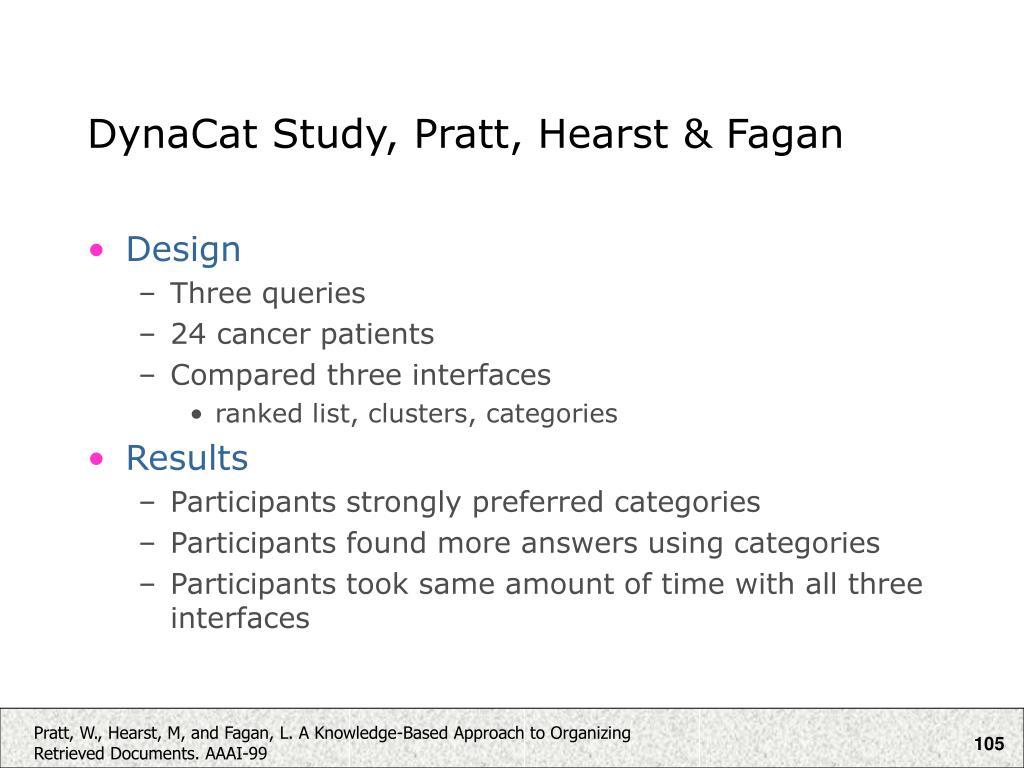 DynaCat Study, Pratt, Hearst & Fagan