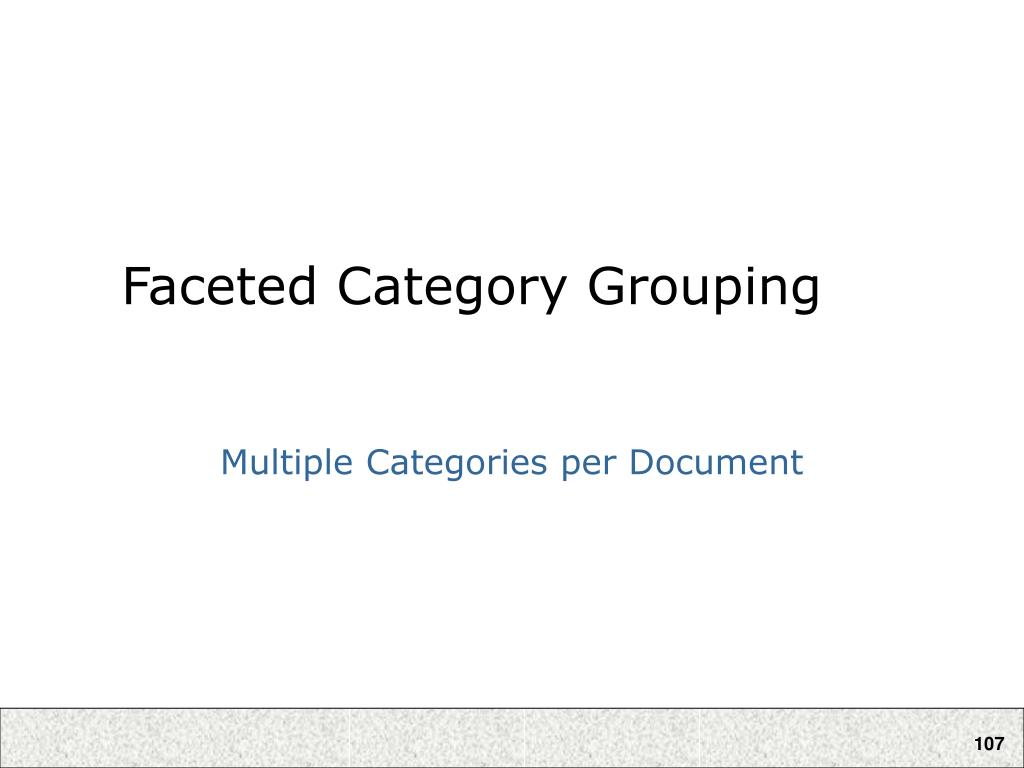Faceted Category Grouping