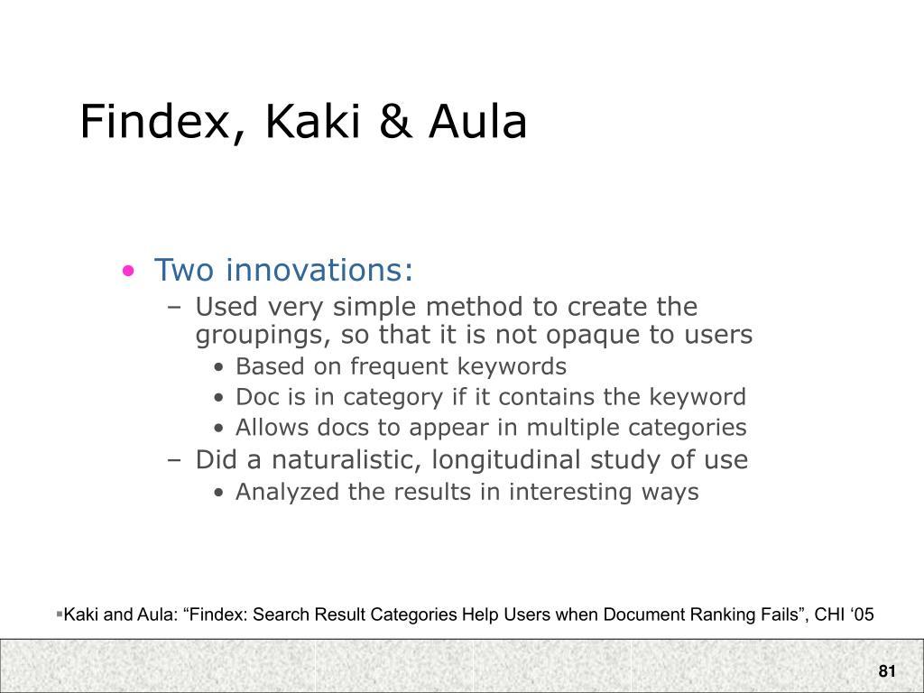 Findex, Kaki & Aula