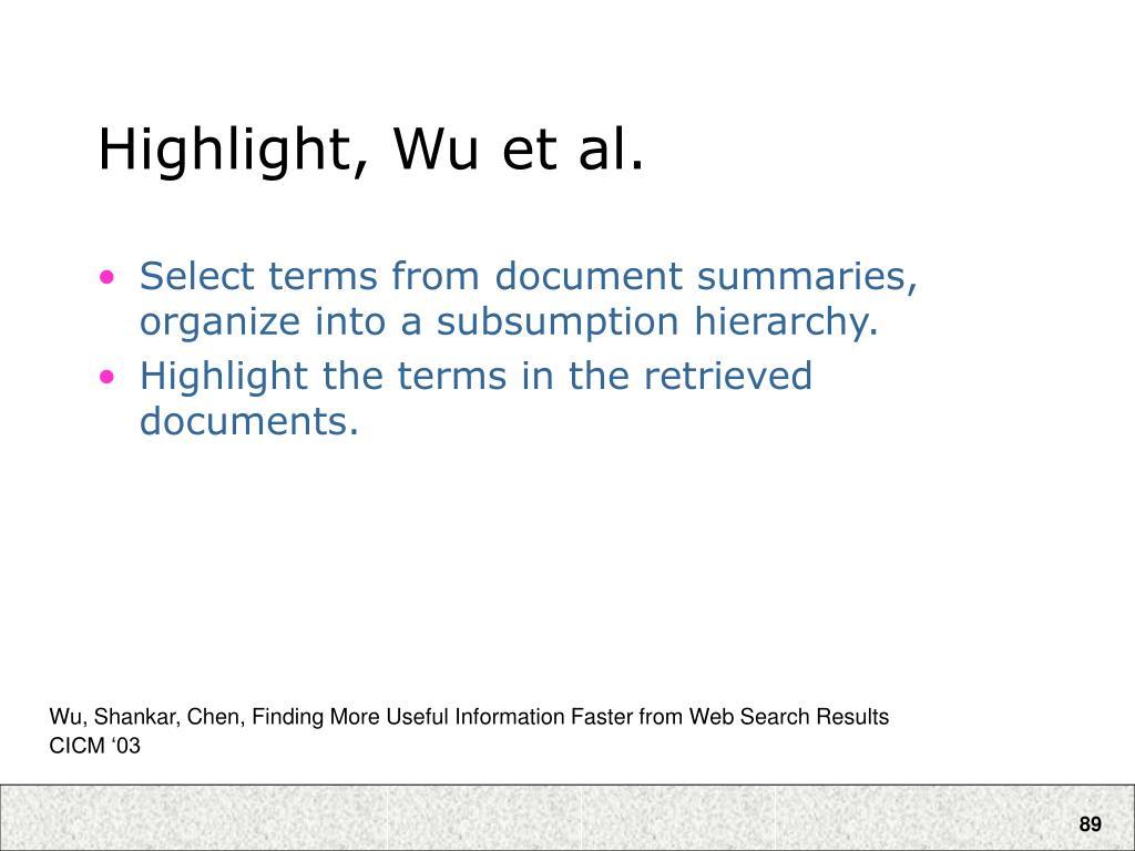 Highlight, Wu et al.