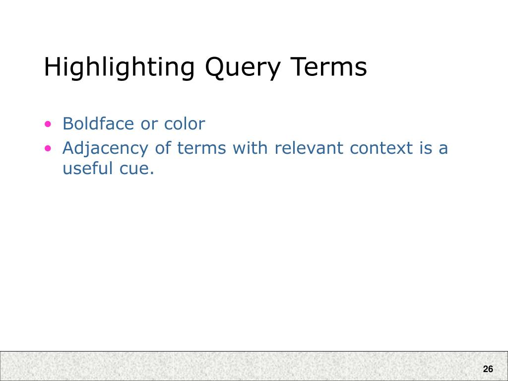 Highlighting Query Terms