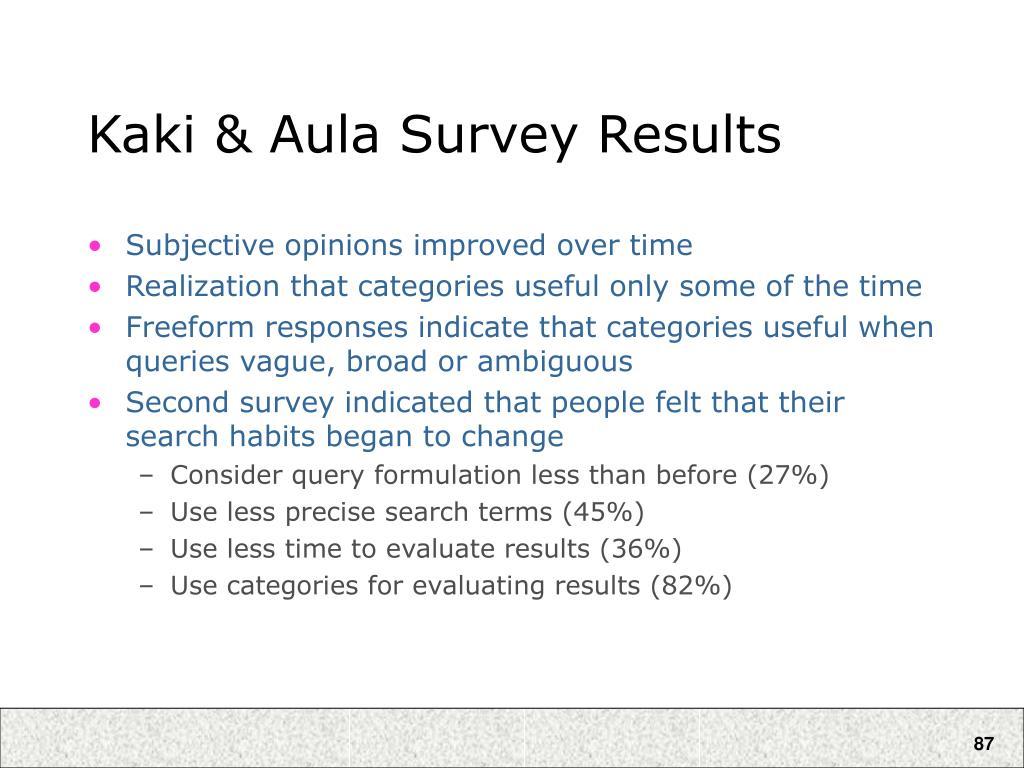 Kaki & Aula Survey Results