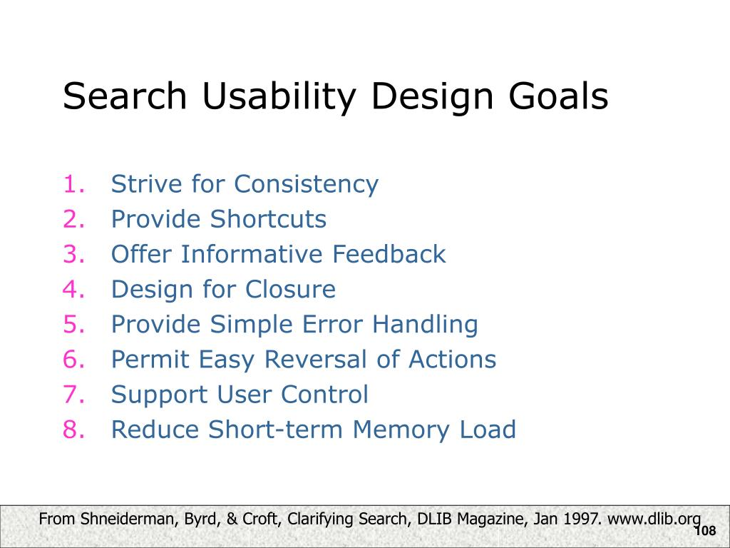 Search Usability Design Goals