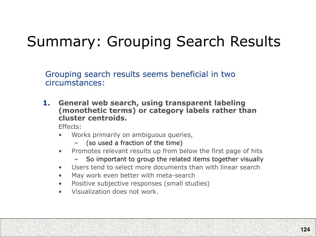 Summary: Grouping Search Results