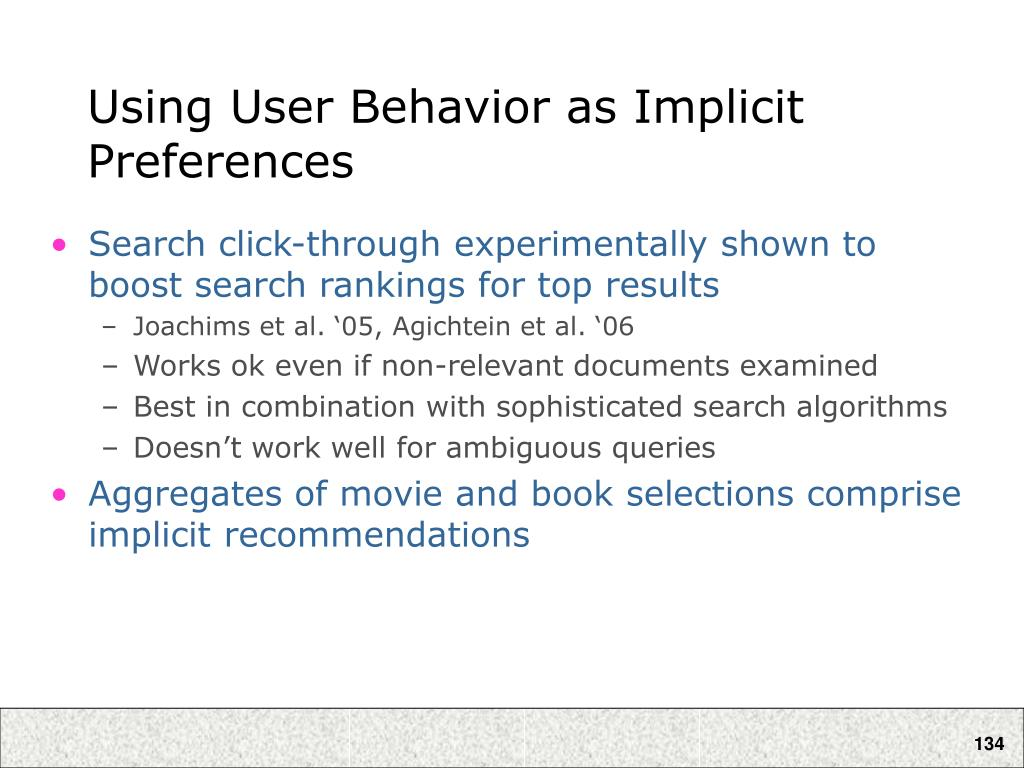 Using User Behavior as Implicit Preferences