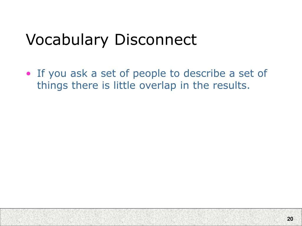 Vocabulary Disconnect