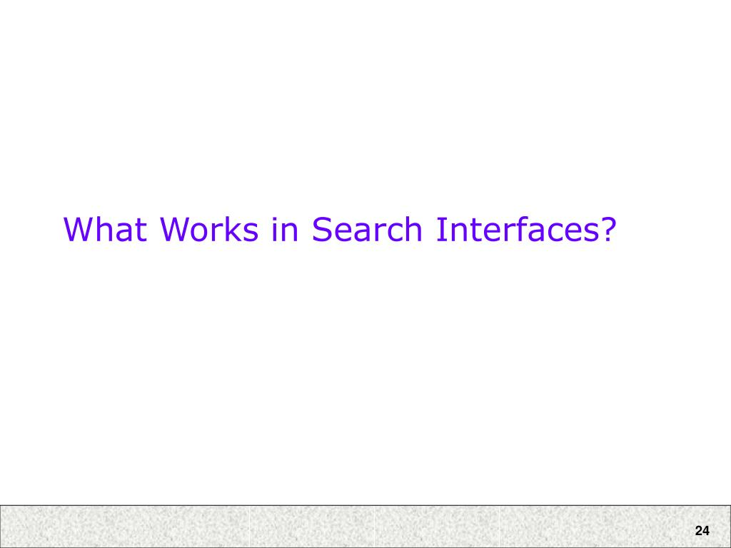What Works in Search Interfaces?