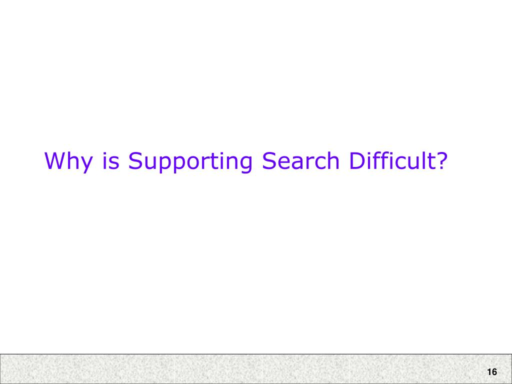 Why is Supporting Search Difficult?