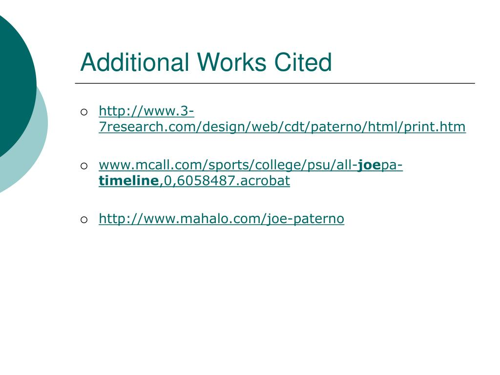 Additional Works Cited