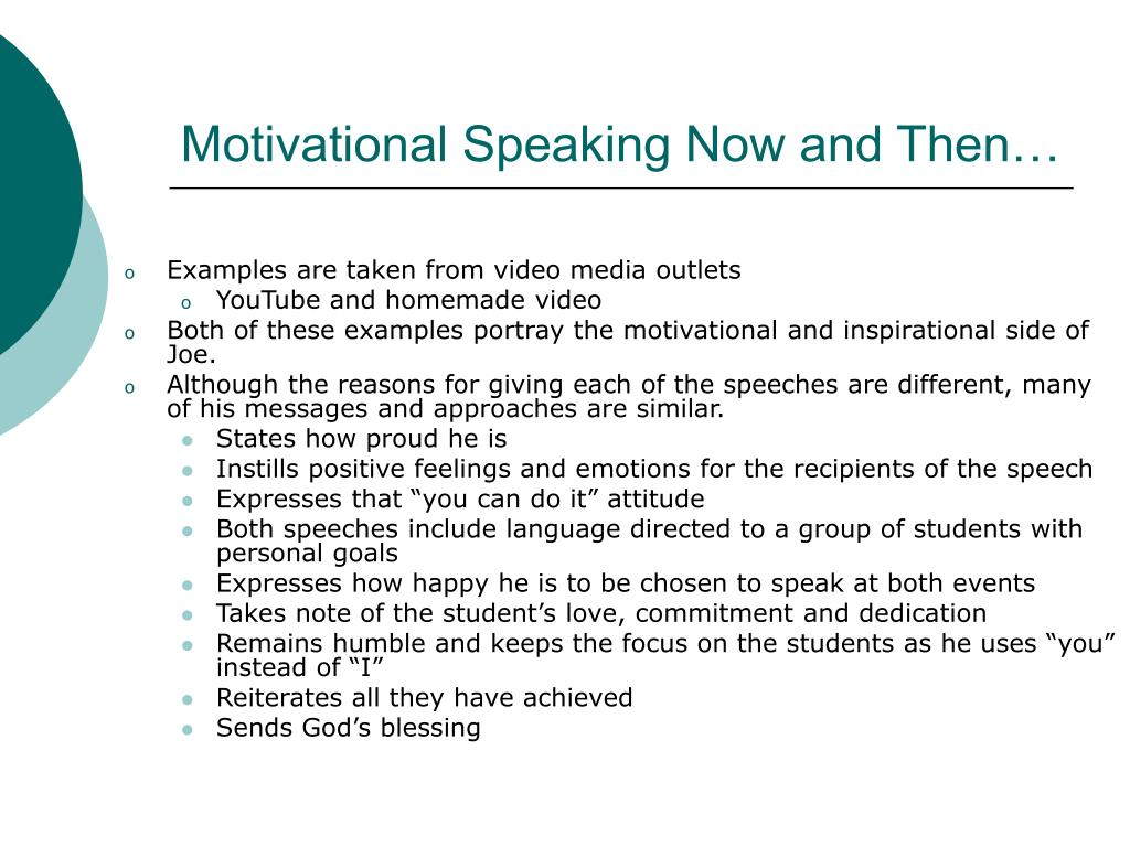 Motivational Speaking Now and Then…
