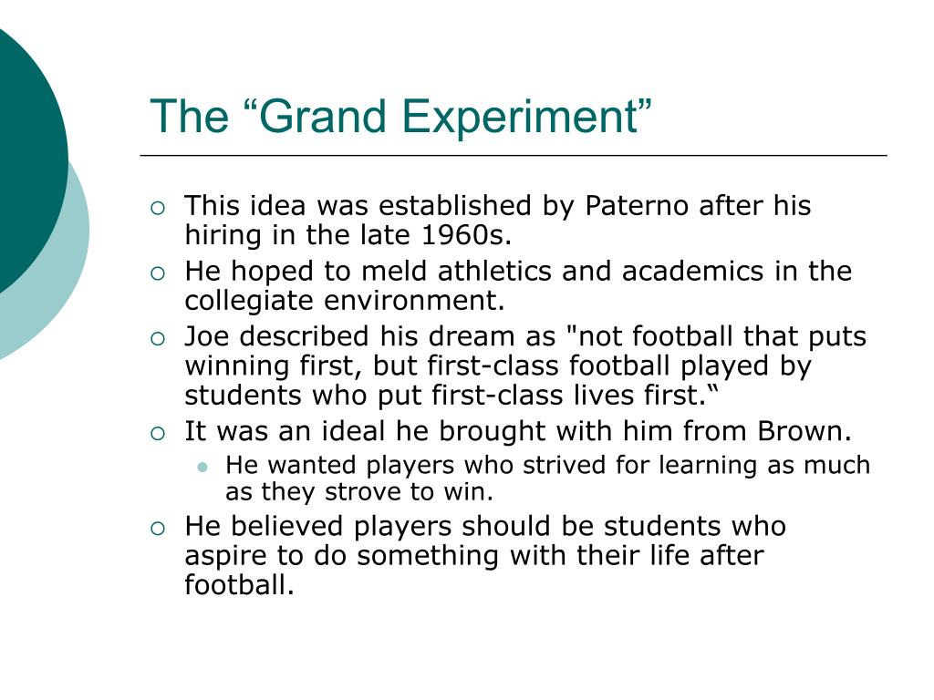 """The """"Grand Experiment"""""""