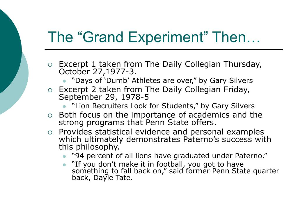 """The """"Grand Experiment"""" Then…"""