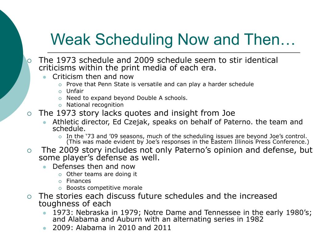 Weak Scheduling Now and Then…
