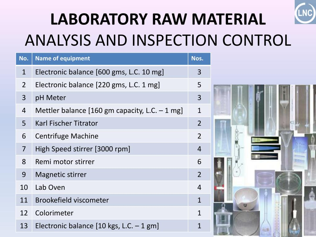 LABORATORY RAW MATERIAL