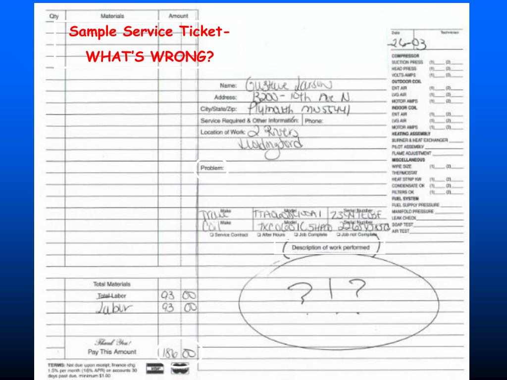 Sample Service Ticket-