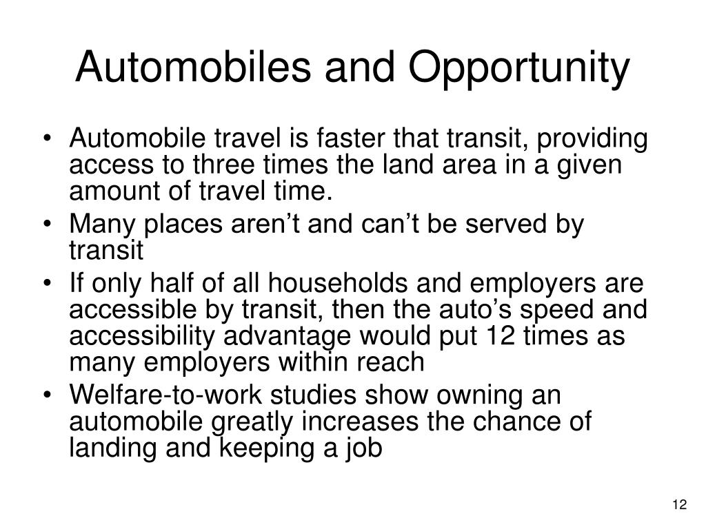 Automobiles and Opportunity