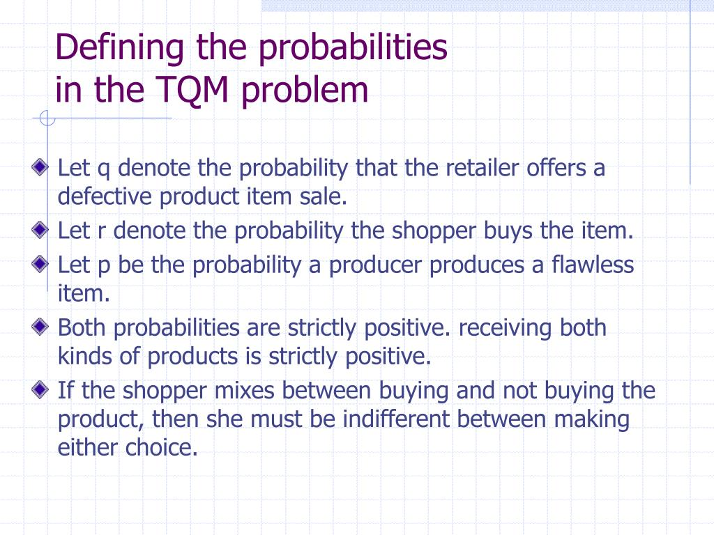 Defining the probabilities