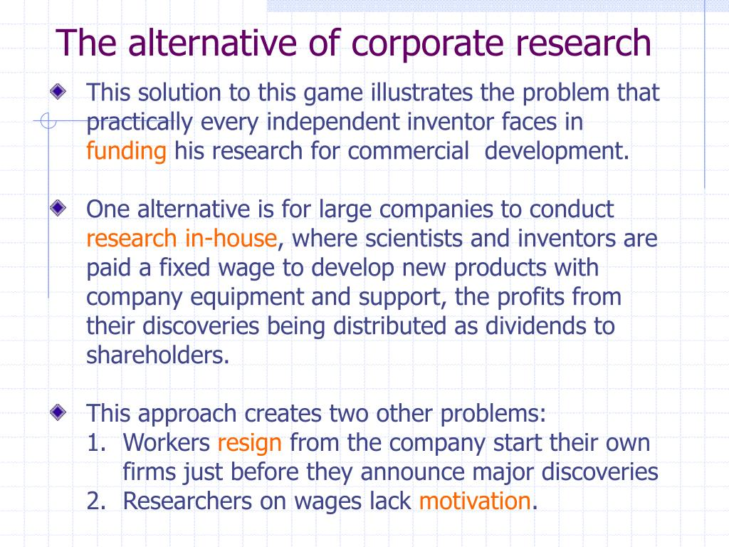 The alternative of corporate research