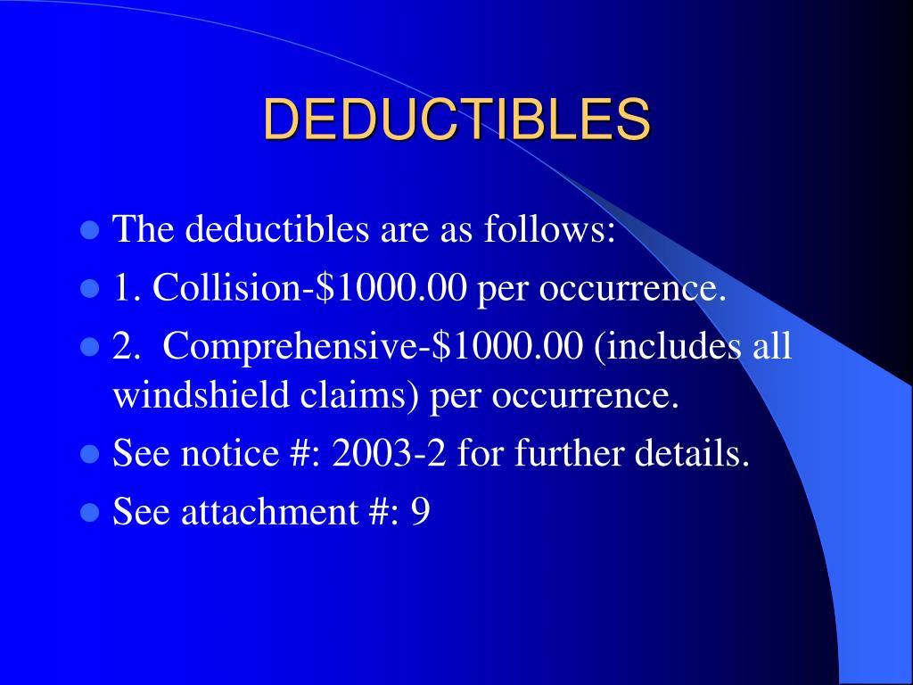 DEDUCTIBLES