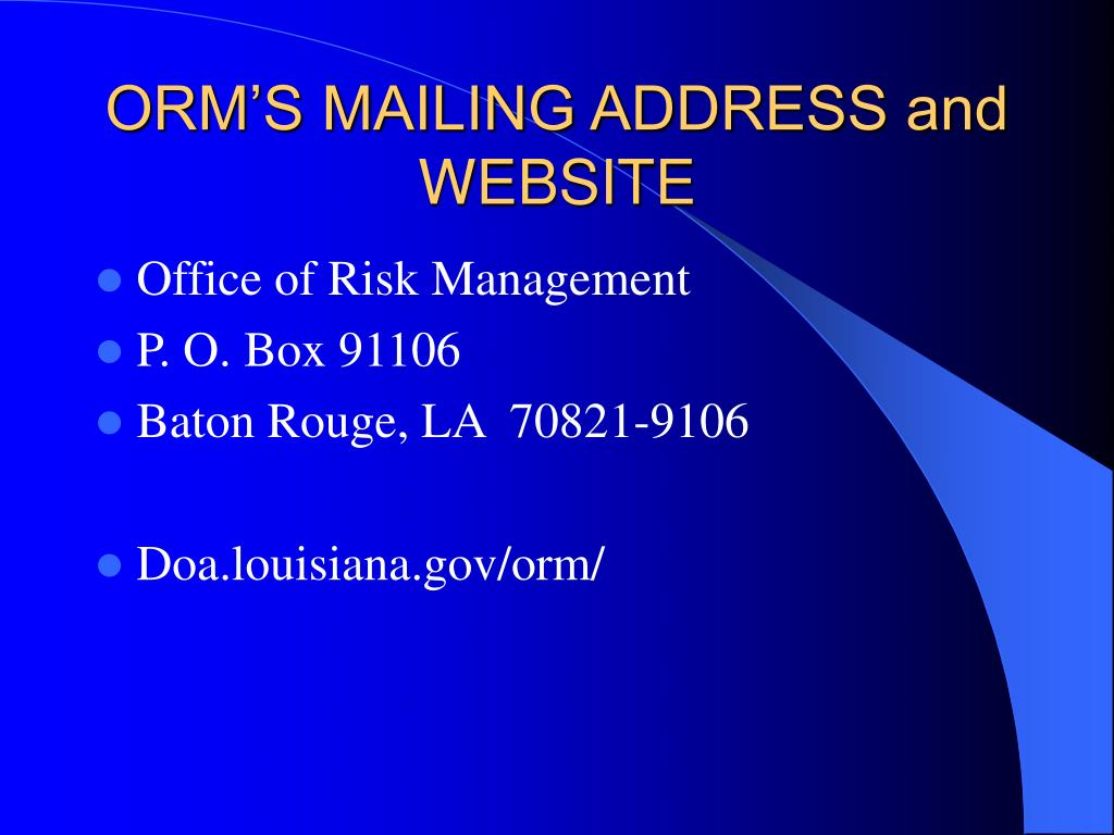 ORM'S MAILING ADDRESS and WEBSITE