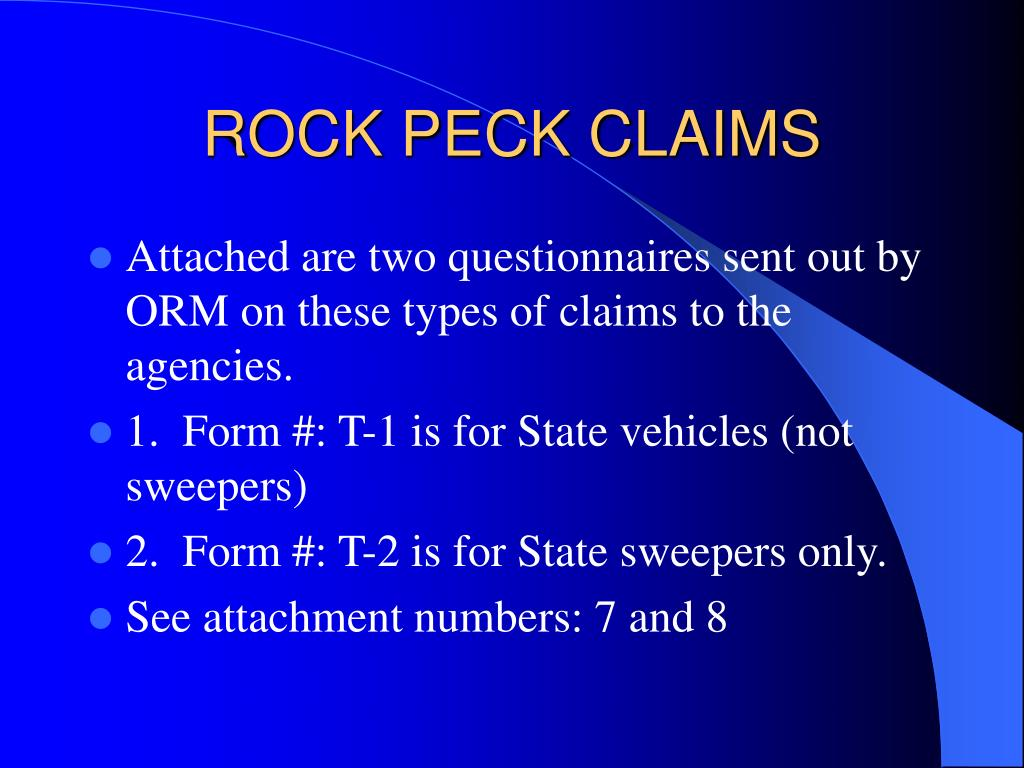 ROCK PECK CLAIMS