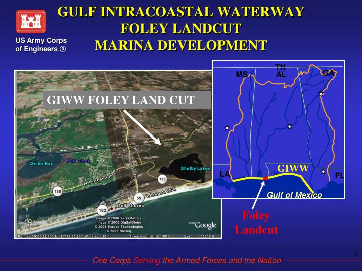 Gulf intracoastal waterway foley landcut marina development