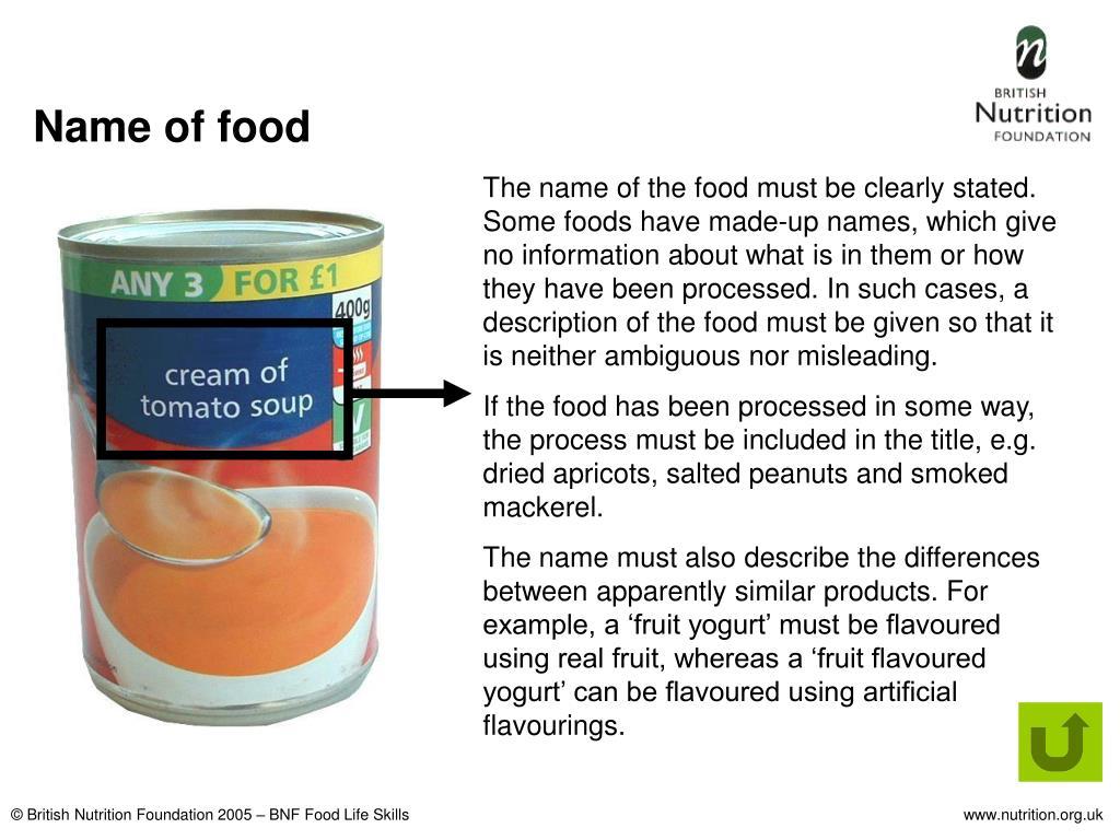 Name of food