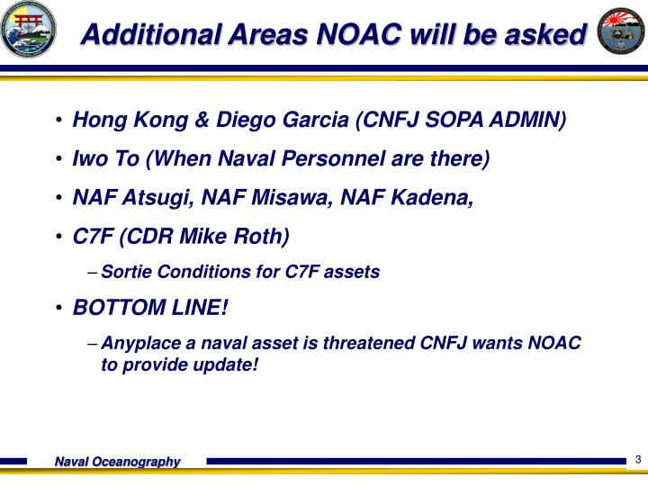 Additional areas noac will be asked