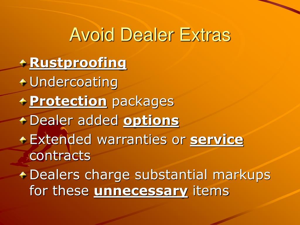 Avoid Dealer Extras