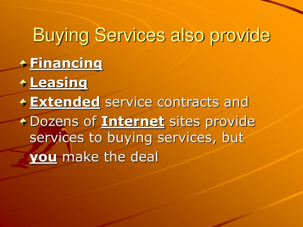 Buying Services also provide