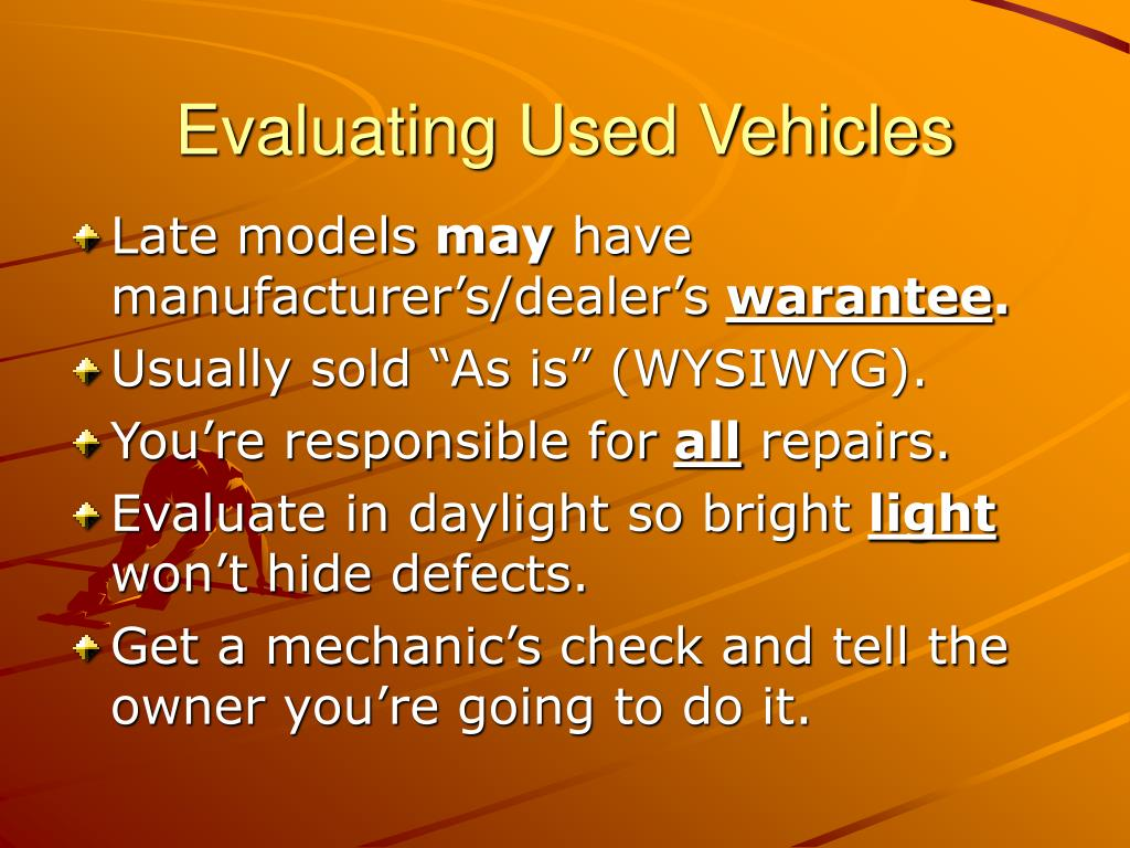 Evaluating Used Vehicles