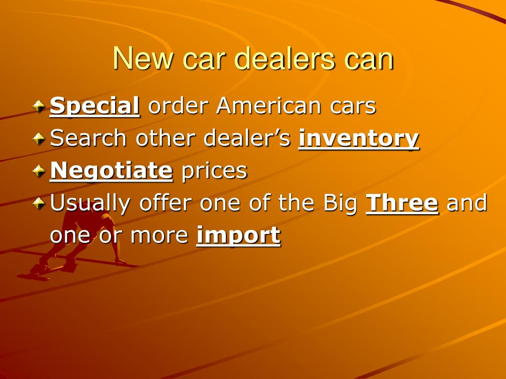 New car dealers can