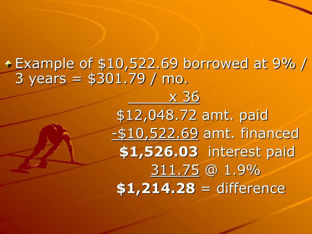 Example of $10,522.69 borrowed at 9% / 3 years = $301.79 / mo.
