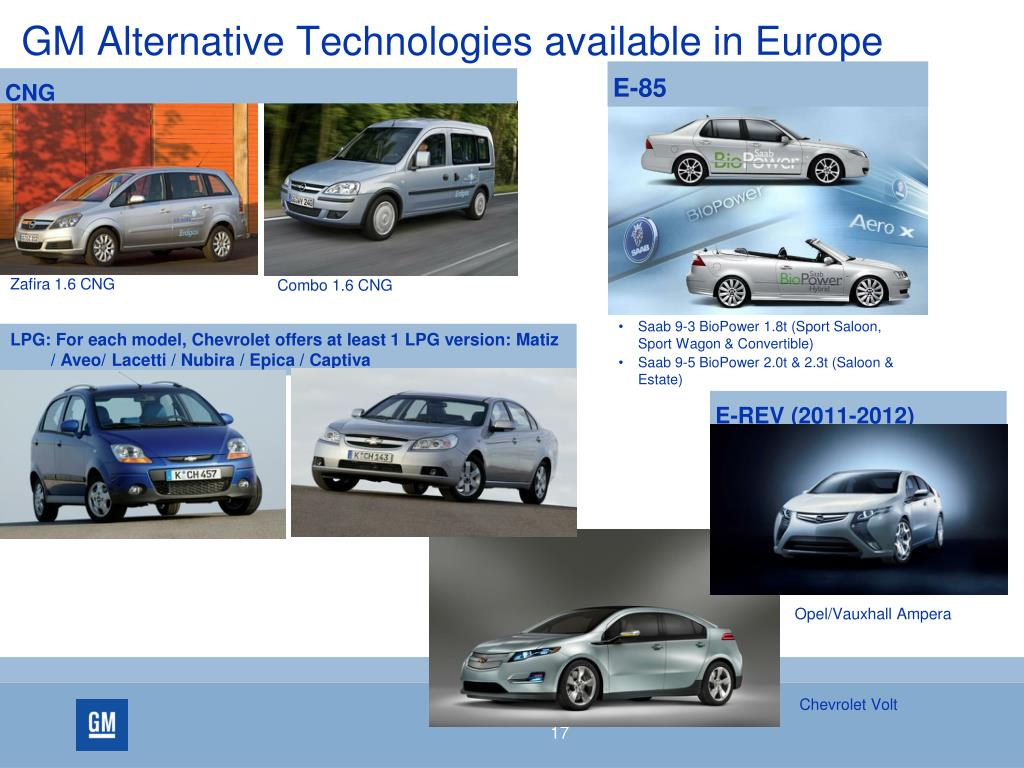 GM Alternative Technologies available in Europe