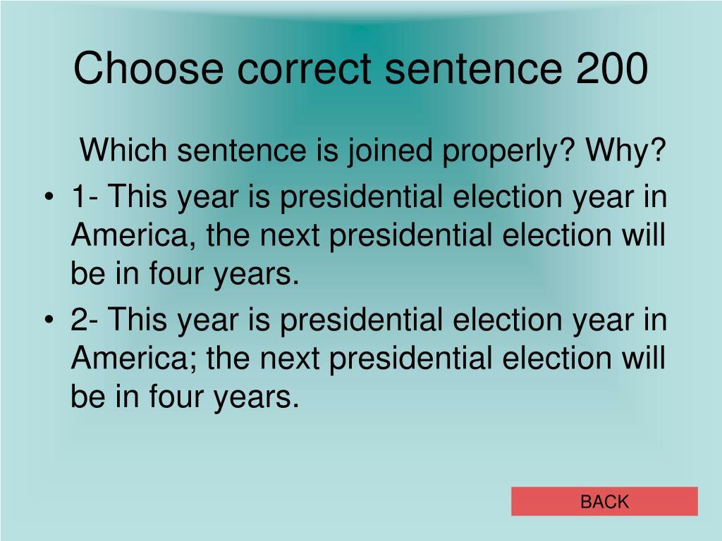 Choose correct sentence 200