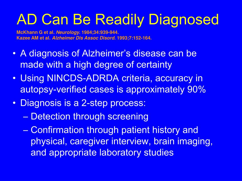 AD Can Be Readily Diagnosed
