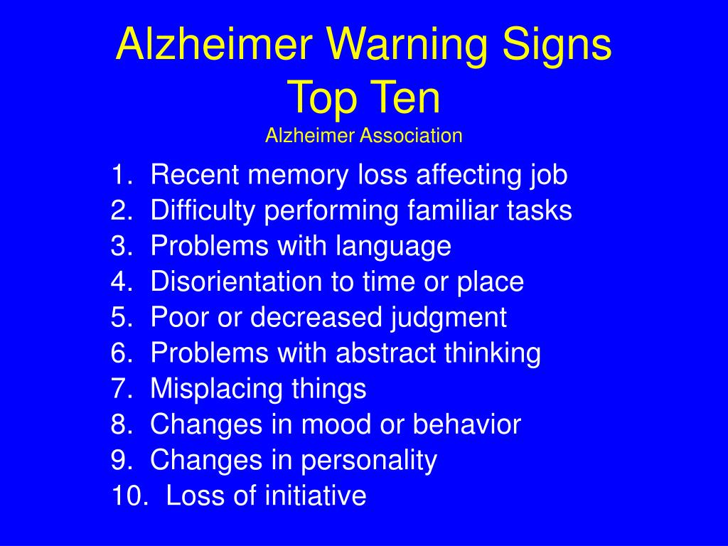 Alzheimer Warning Signs