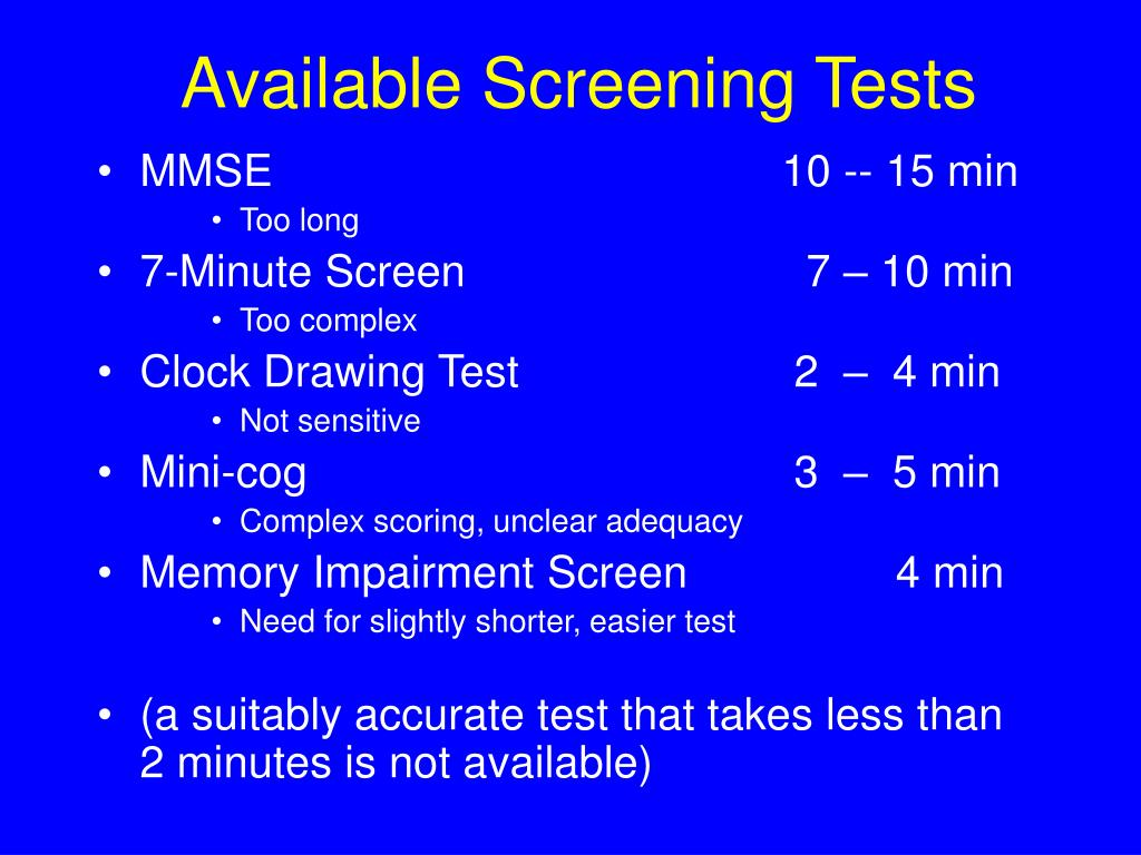 Available Screening Tests