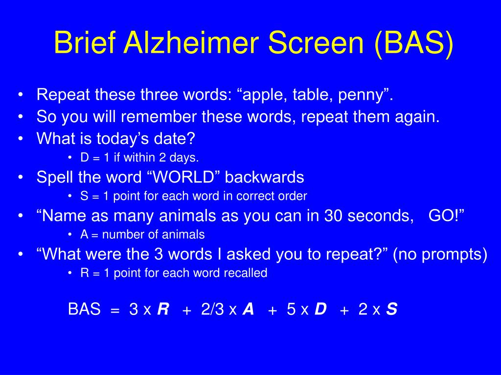 Brief Alzheimer Screen (BAS)