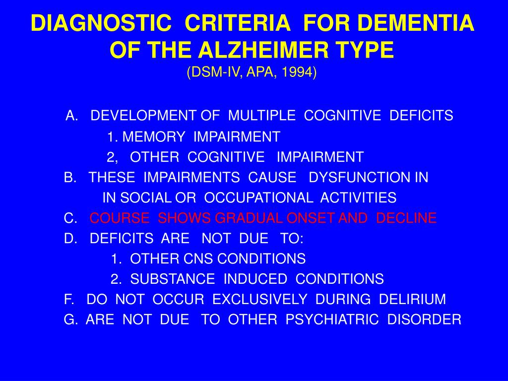 DIAGNOSTIC  CRITERIA  FOR DEMENTIA OF THE ALZHEIMER TYPE