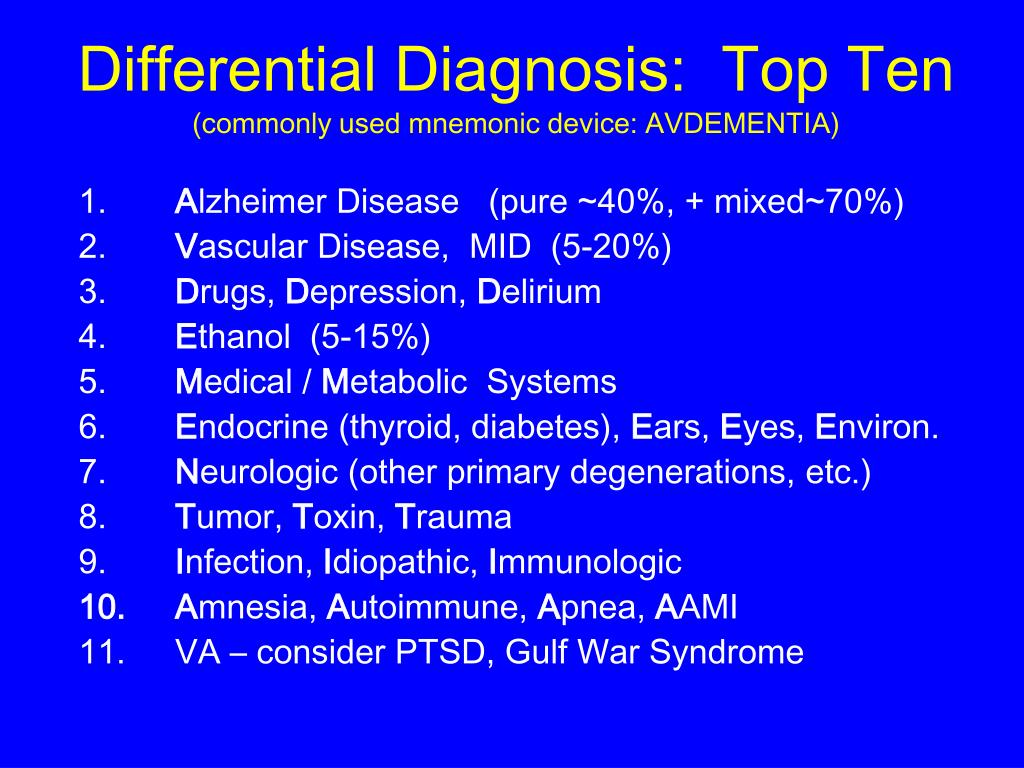 Differential Diagnosis:  Top Ten