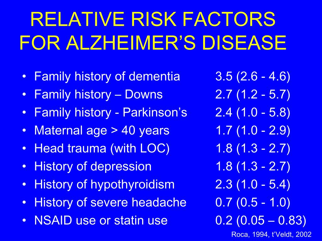 RELATIVE RISK FACTORS FOR ALZHEIMER'S DISEASE
