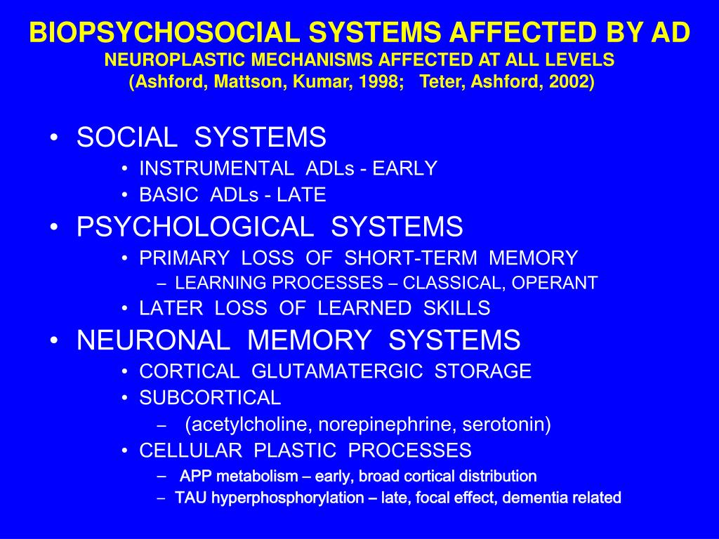 BIOPSYCHOSOCIAL SYSTEMS AFFECTED BY AD