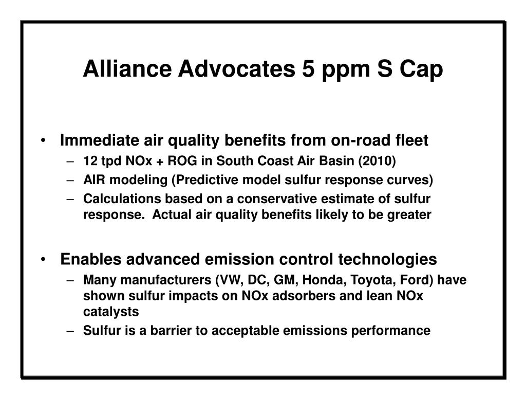 Alliance Advocates 5 ppm S Cap
