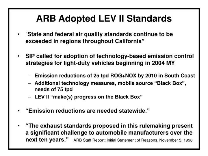 Arb adopted lev ii standards