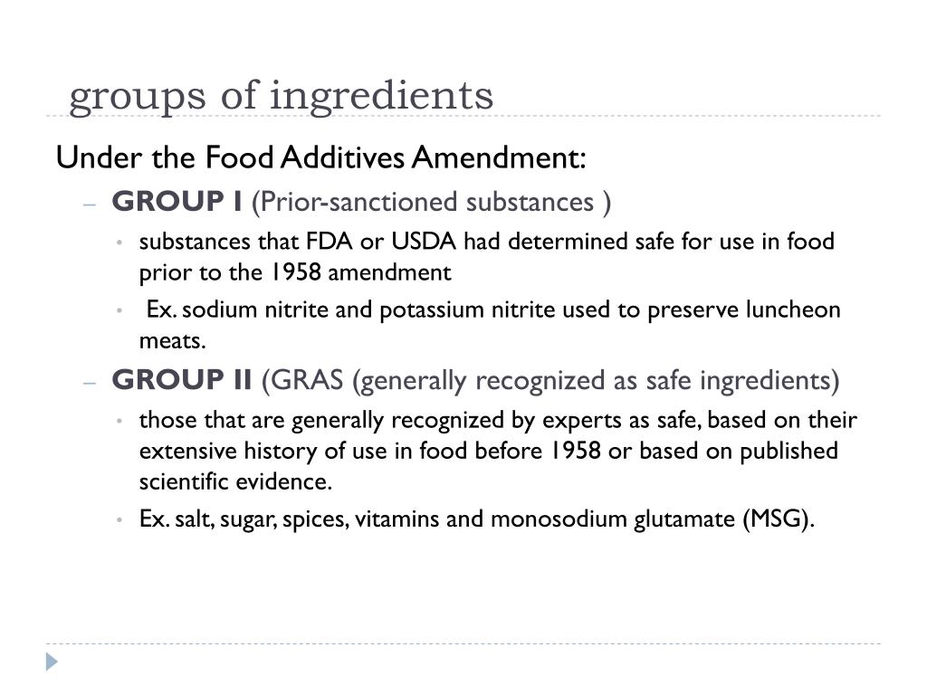 groups of ingredients